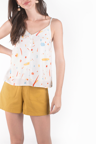 Sparks Buttoned Cami Top (White/Mustard)