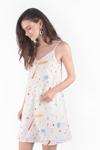 Sparks Buttoned Cami Dress (White/Mustard)