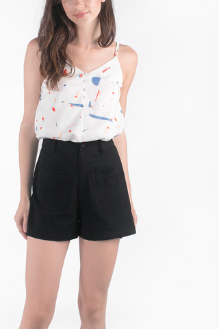 Jen High Waisted Pocket Shorts (Black)