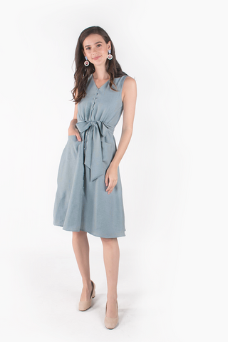 Sparks Buttoned Midi Dress (Dusty Blue)