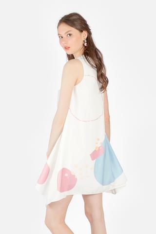 Spirited Asymmetric Shift Dress (Blue)