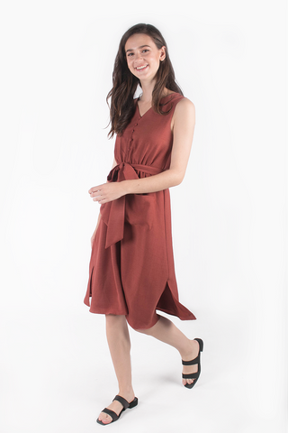 Sparks Buttoned Midi Dress (Rosewood)
