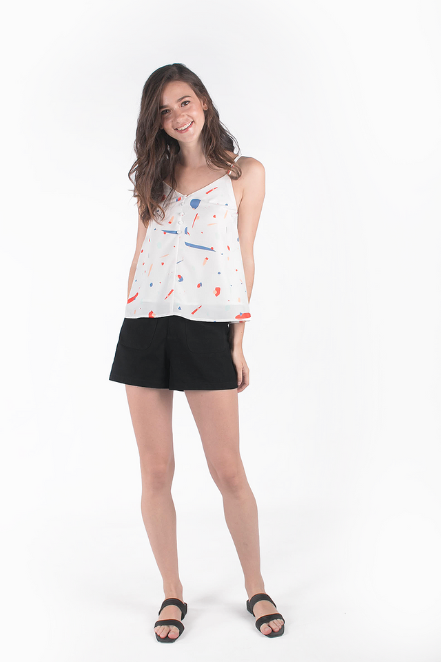 Sparks Buttoned Cami Top (White/Dusty Blue)