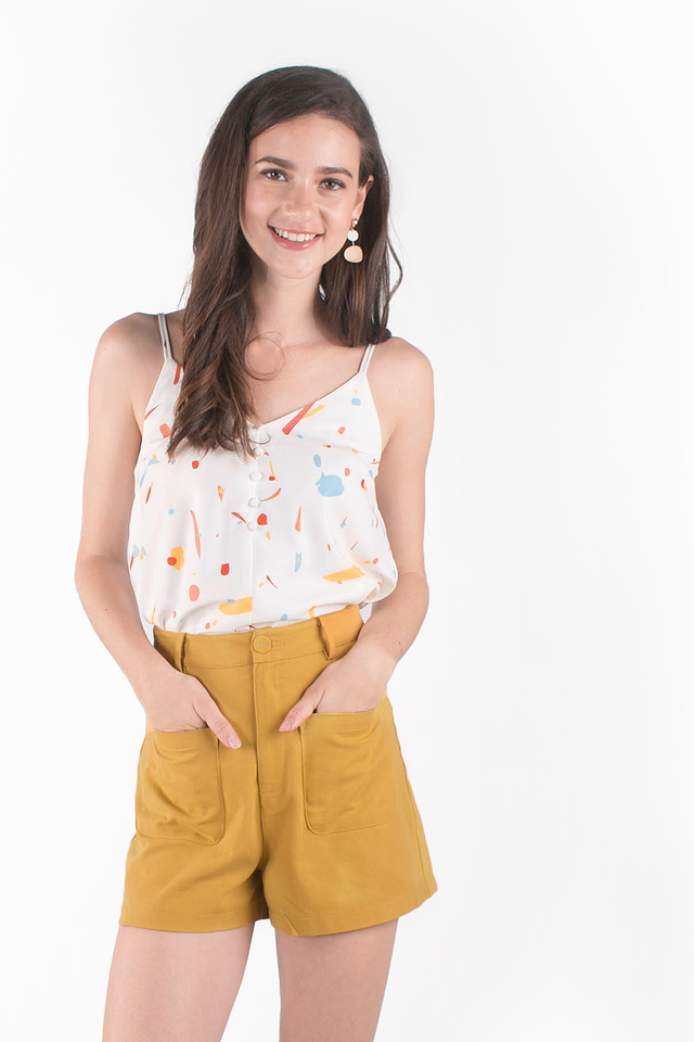 Jen High Waisted Pocket Shorts (Mustard)