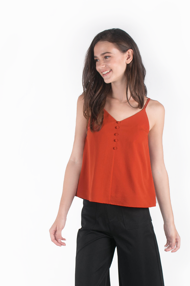 Sparks Buttoned Cami Top (Auburn) - Clearance