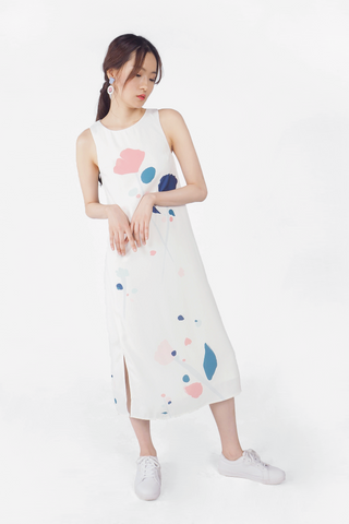 芳(fang) Slit Maxi Dress (White)