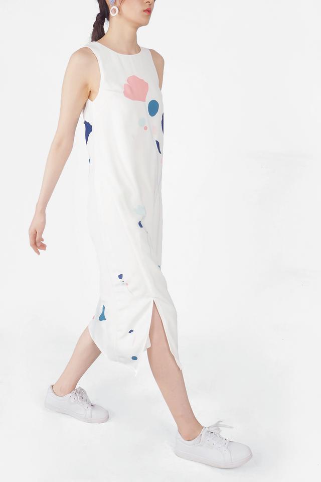 芳(fang) Slit Maxi Dress (White)