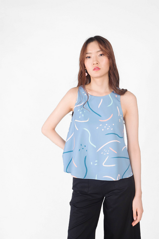 Doodle Shift Top (Blue/Teal)