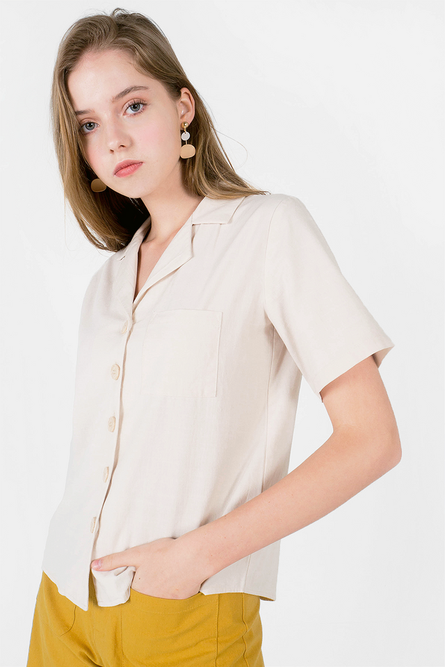 Kalei Collar Shirt (Ivory) - Medium