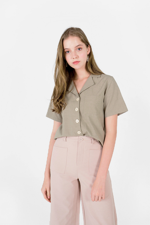 Kalei Collar Shirt (Olive) - Medium