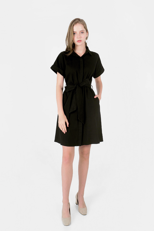 Lue Collar Shirt Dress (Black) - Medium (Last 2 Piece)