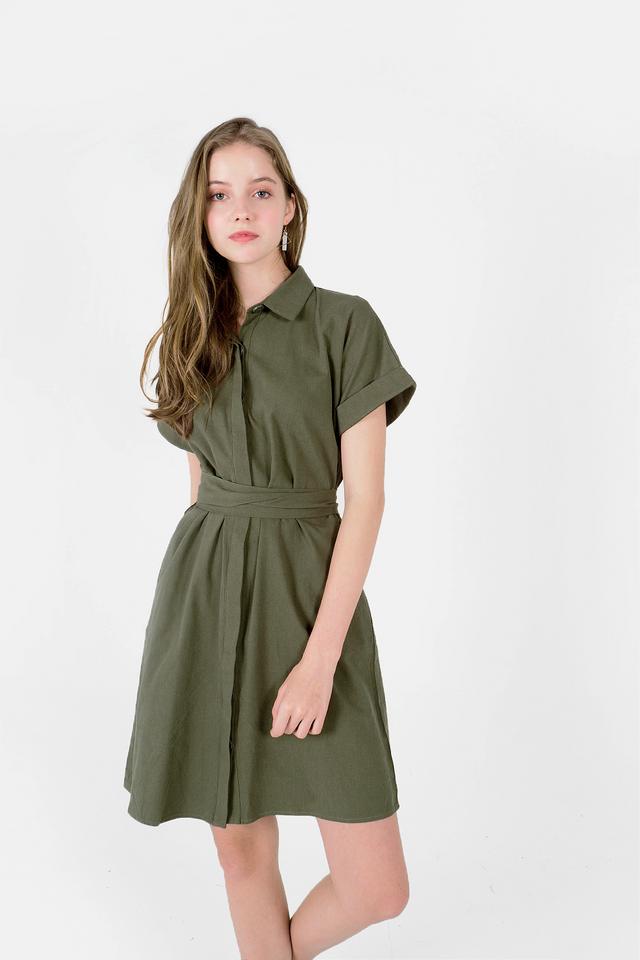 Lue Collar Shirt Dress (Dark Olive)