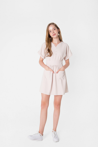 Ayla Pocket Swing Dress (Cream)