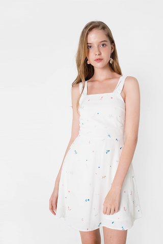 Bloom Embroidery Swing Dress (Teal/Pink)