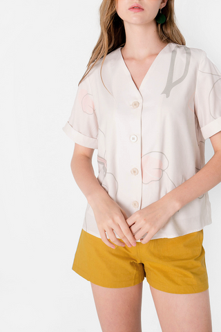 Foliage Buttoned Blouse (Ivory)