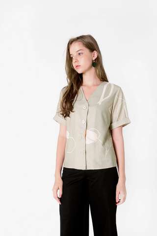 Foliage Buttoned Blouse (Olive)