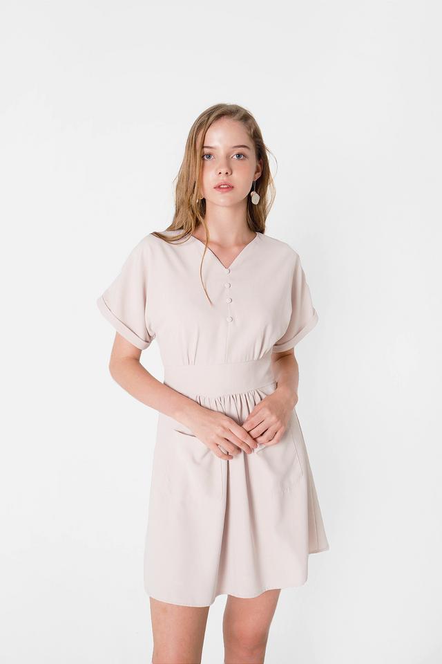 Ayla Pocket Swing Dress (Cream)