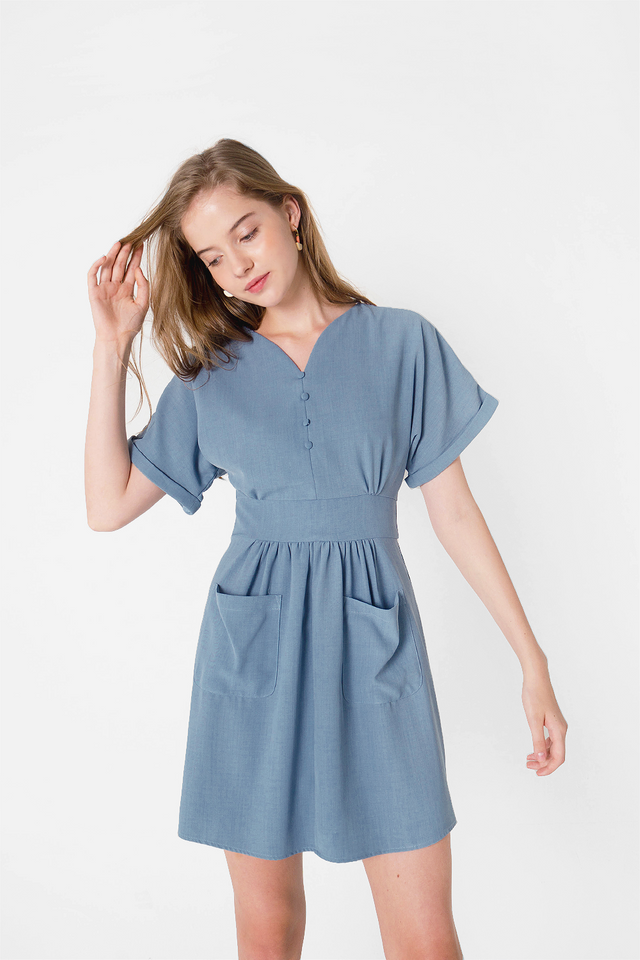 Ayla Pocket Swing Dress (Carolina Blue)