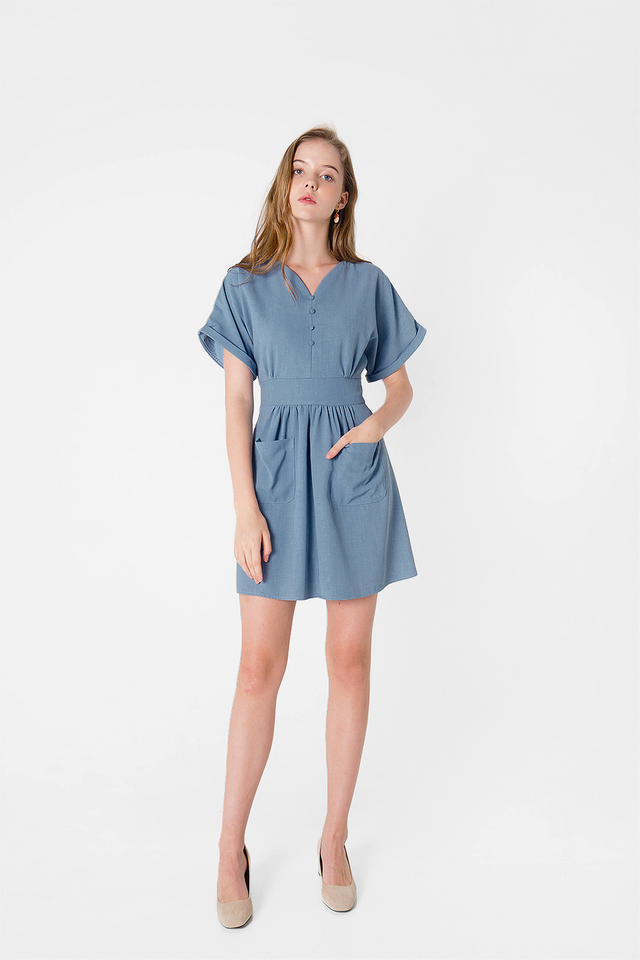 Ayla Pocket Swing Dress (Carolina Blue)
