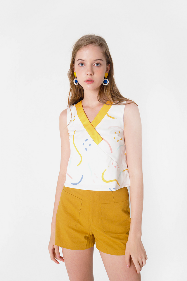 Doodle V-neck Top (Sunshine) - Small & Large