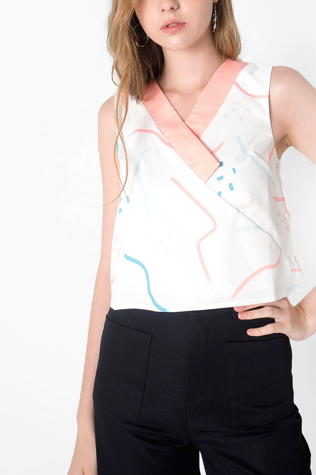 Doodle V-neck Top (Rose) -  Medium & Large (Last 2 Piece)
