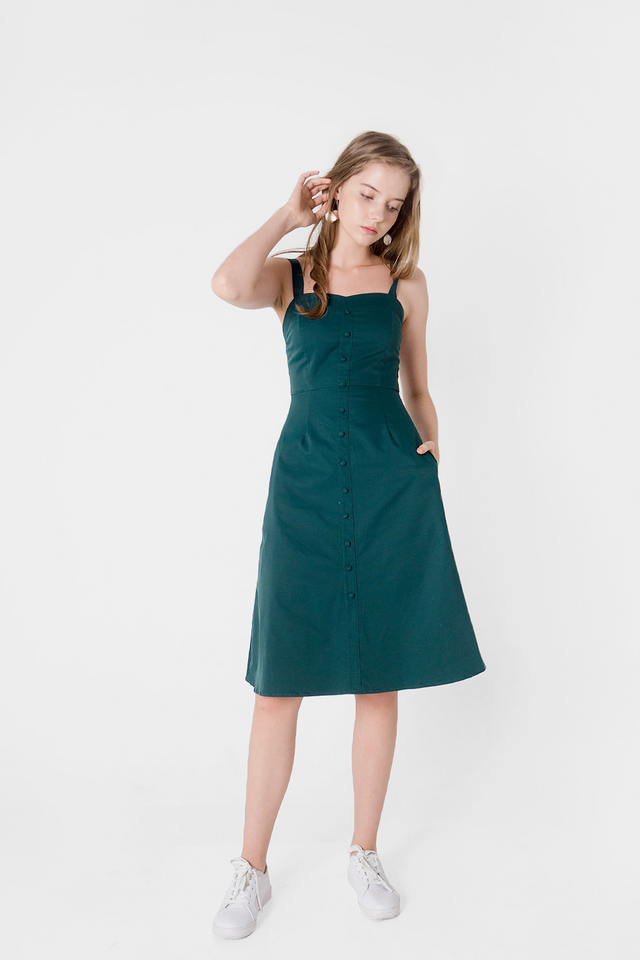 Cher Sweetheart Midi Dress (Forest)