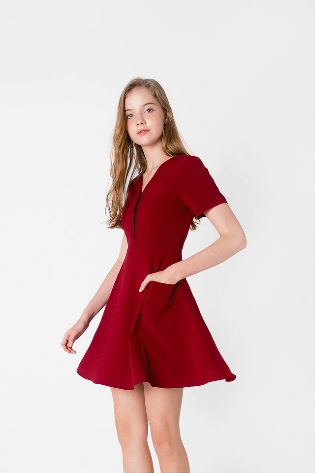 Xi Pocket Swing Dress (Burgundy)