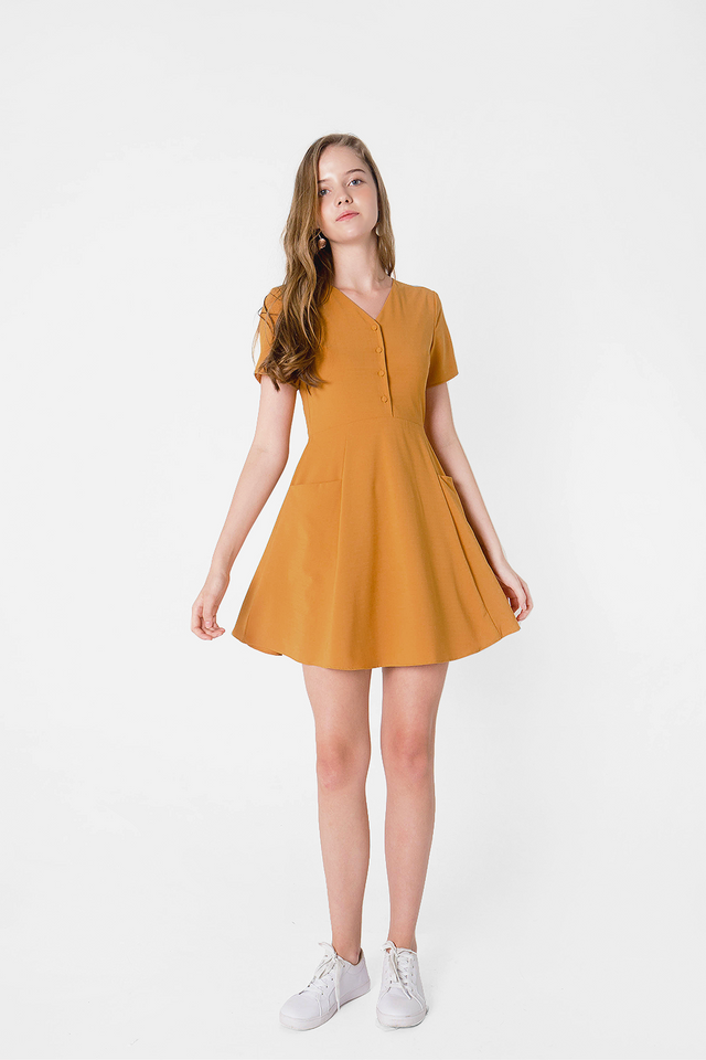 Xi Pocket Swing Dress (Mustard)