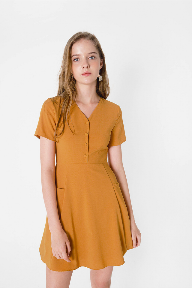 Xi Pocket Swing Dress (Mustard)