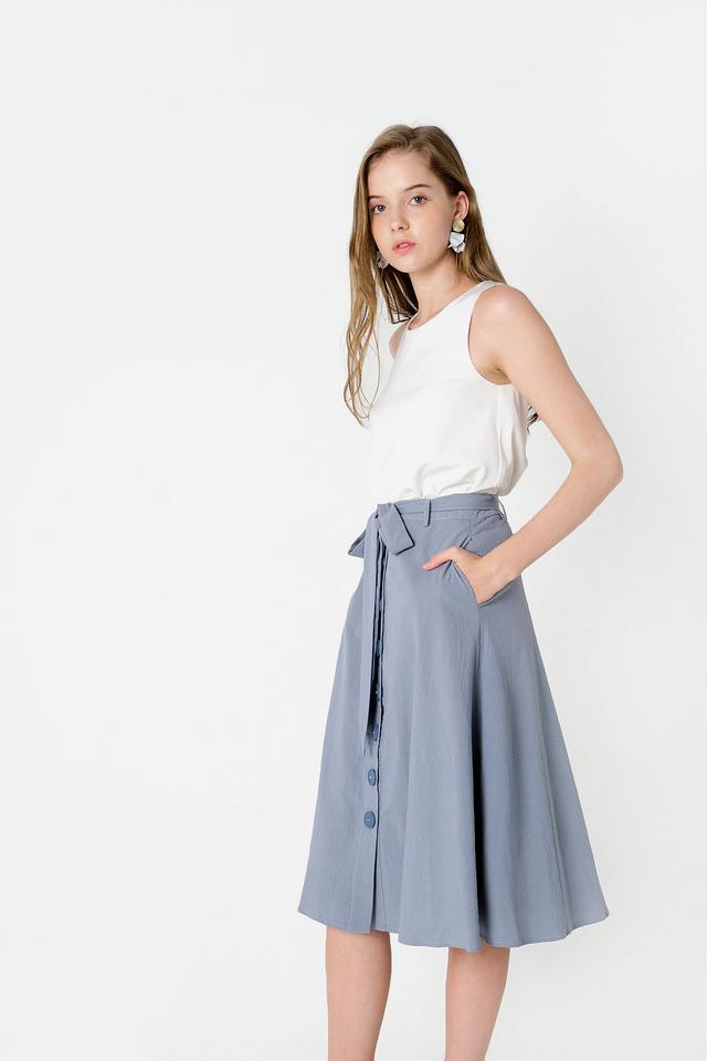 Sonya Buttoned Midi Skirt (Ash Blue)