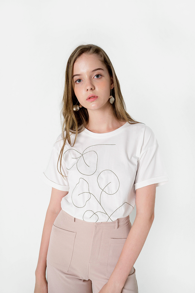 Foliage Embroidery Tee (White)