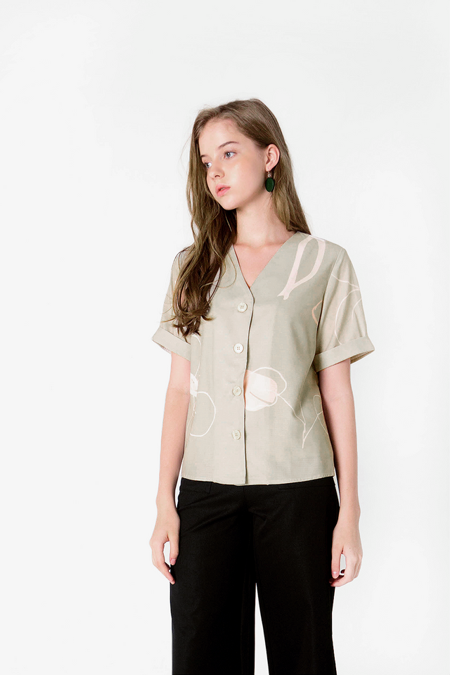 Foliage Buttoned Blouse (Olive) - Medium (Last 2)