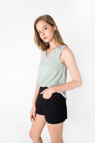 Petal Embroidery Top (Jade)