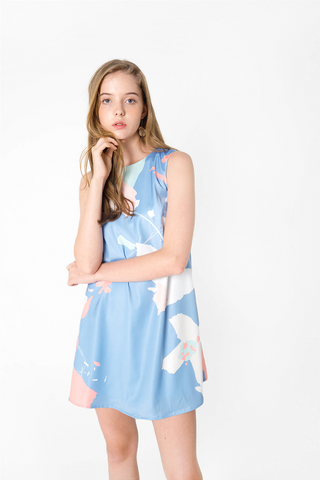 Petal Shift Dress (Blue)