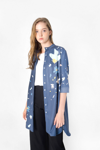 Petal Shirt Dress (Teal Blue)