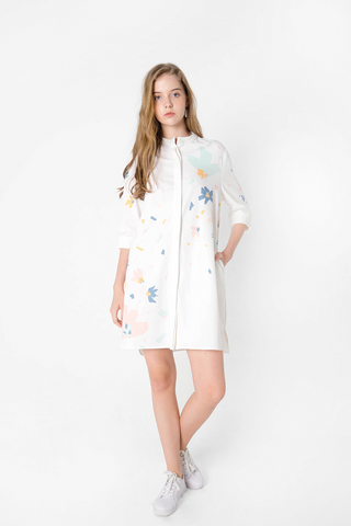 Petal Shirt Dress (White)