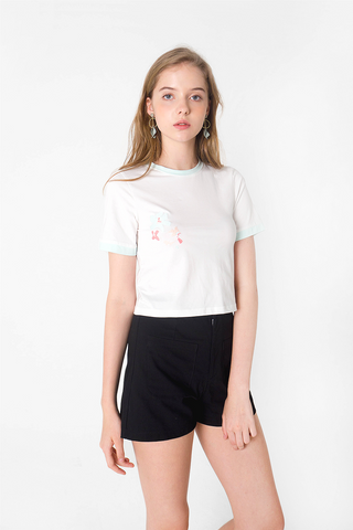 Petal Embroidery Crop Tee