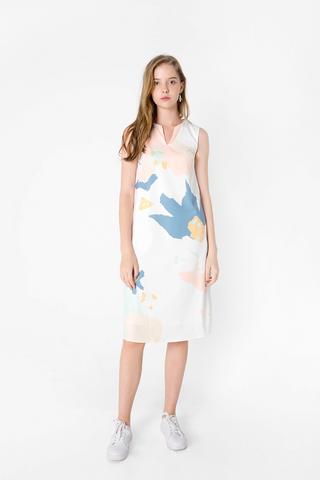 Petal Midi Dress (White)