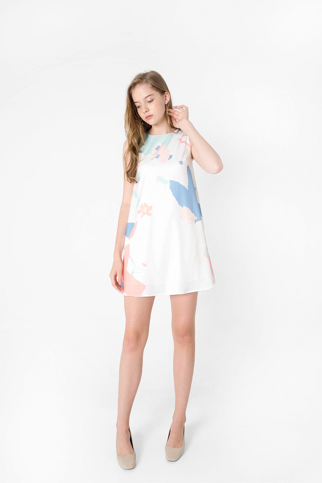 Petal Shift Dress (White) - Medium (Last Piece)
