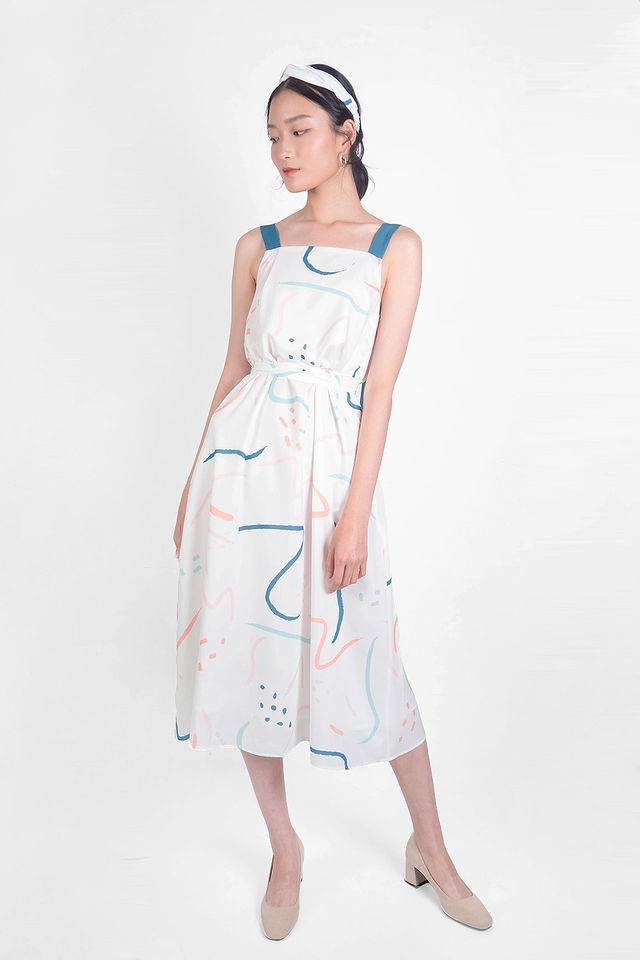 Doodle Tent Dress (White/Teal)
