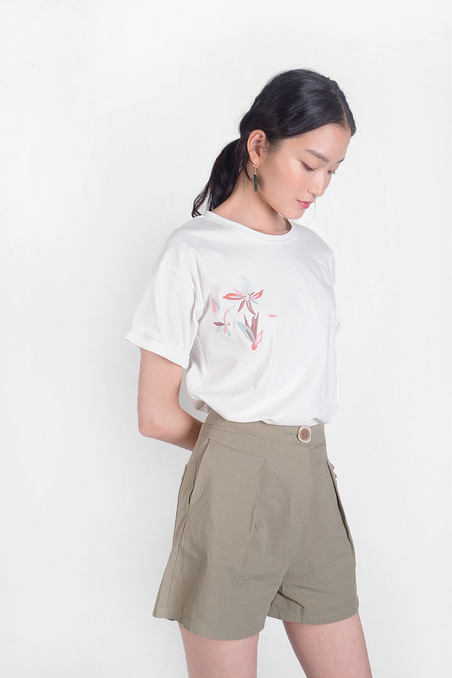 Windflower Embroidery Tee (White) - Large