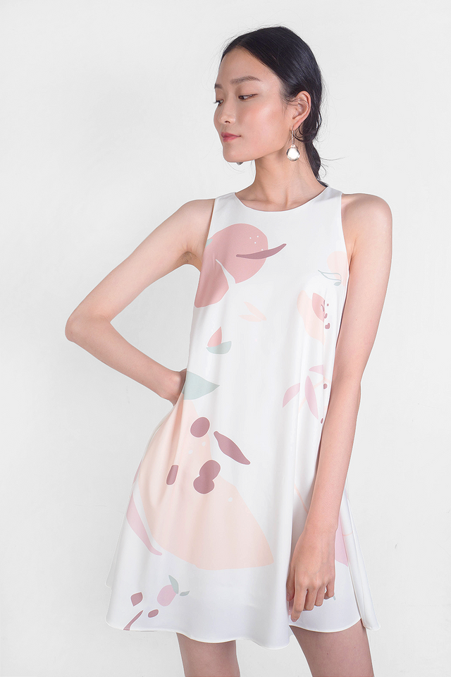 Peach Swing Dress (White)