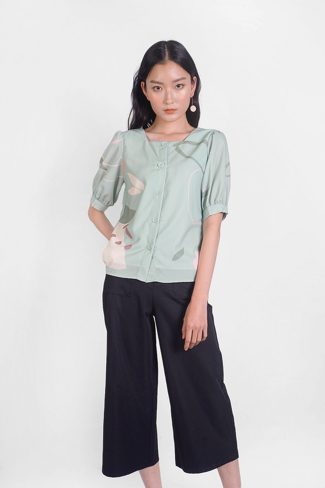 Peach Square Neck Blouse (Laurel)