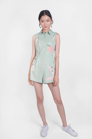 Peach Collar Romper (Laurel)