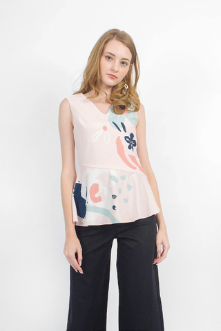 Rosette Peplum Top (Blush)