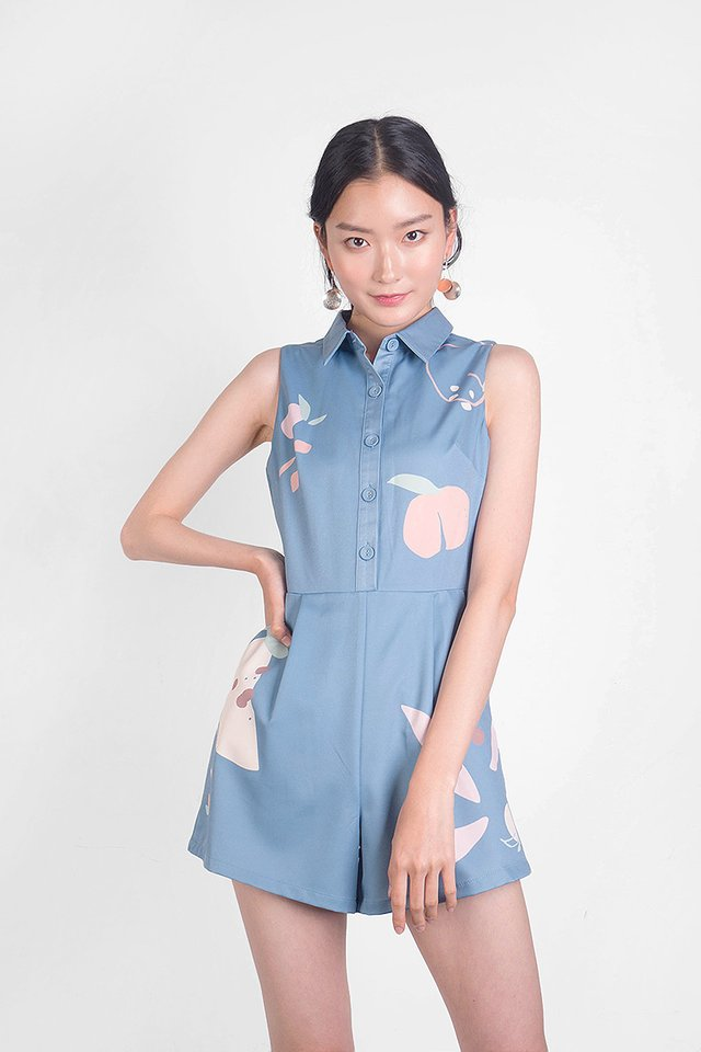Peach Collar Romper (Blue)