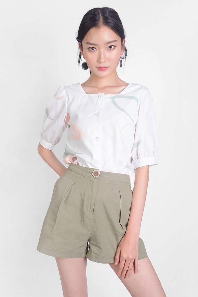 Klin Buttoned Shorts (Olive) - Small (Last Piece)