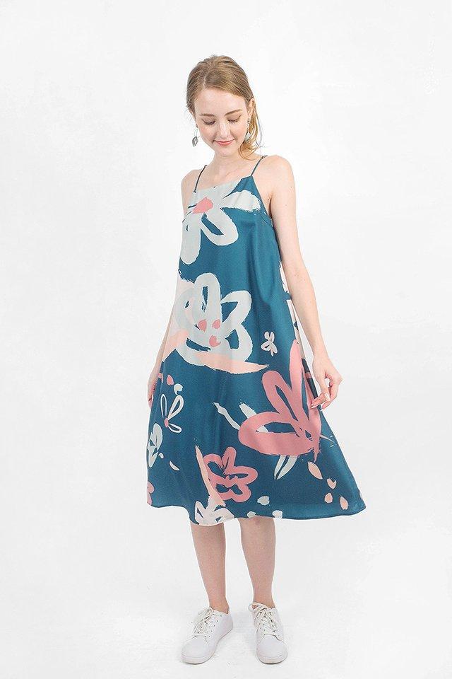 Rosette Tent Midi Dress (Teal) - Small