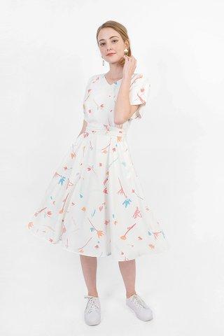 Scribbles Kimono Dress (White)
