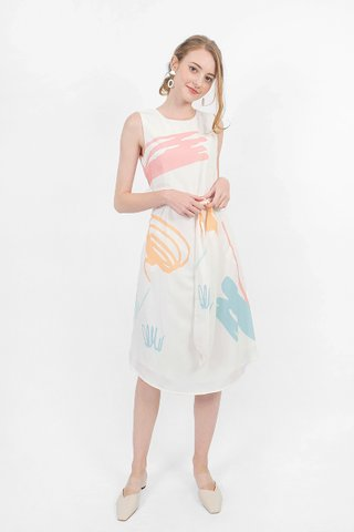 Scribbles Midi Dress (White)